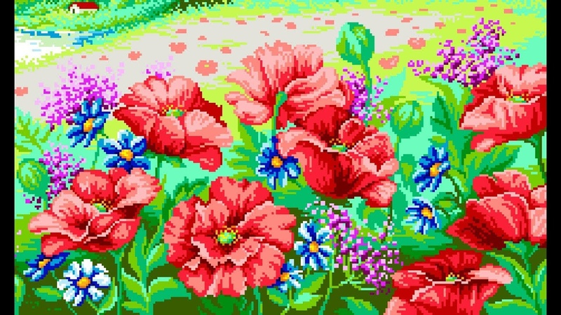 Beautiful landscape with puppy flowers 's design for diamond painting _المناظر الطبيعية الجميلة