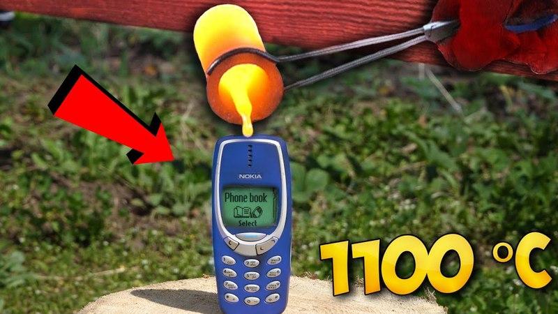 ЧТО ЕСЛИ ВЫЛИТЬ РАСКАЛЕННУЮ ЛАВУ в 1100 ГРАДУСОВ на NOKIA 3310?!