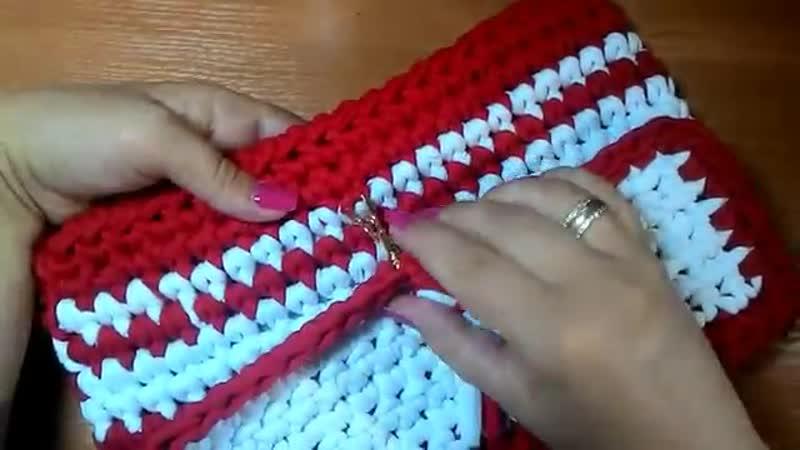 Вязание крючком Клатч косметичка Трикотажная пряжа