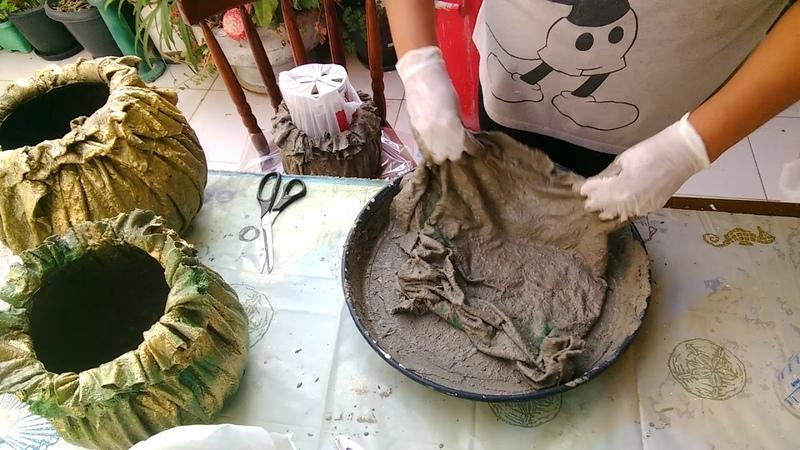 Vasos de tecido e cimento incrívelmente fácil de fazer (se inscreva e ative o sininho 😍)