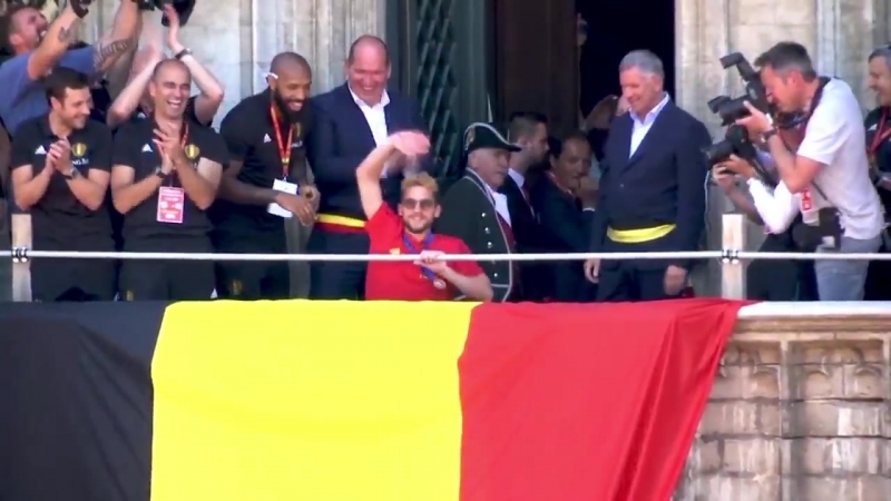 Belgium's homecoming celebrations were run by the one and only Hazard Eden 🎉🇧🇪😂