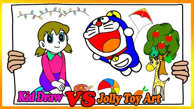 Draw Doraemon Fly A Kite Coloring Pages | Painting and Drawing For Kids Vs Jolly Toy Art ☆ 245