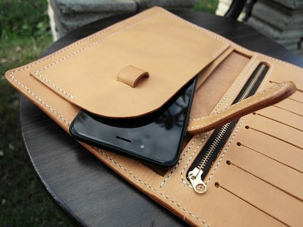 IPhone 7 6 Plus Leather Phone wallet Handcraft