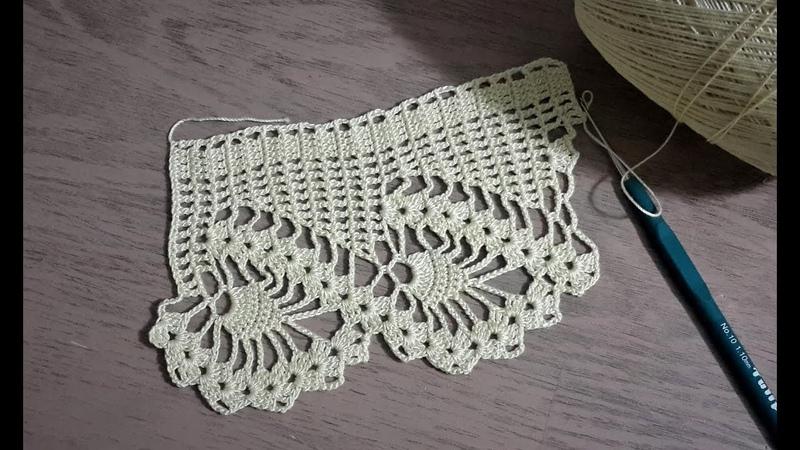 Havlu Kenarı Modeli Yapımı, Tığişi Örgü Havlu Kenarı Crochet