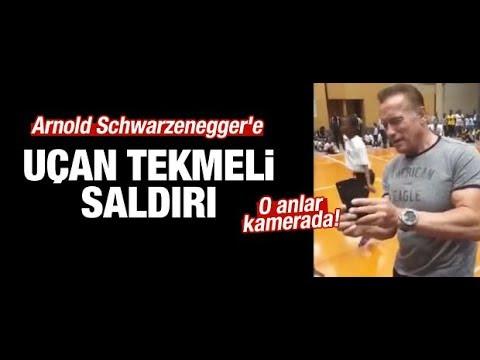 Arnold Schwarzenegger'e uçan tekmeli saldırı kamerada! haberler282
