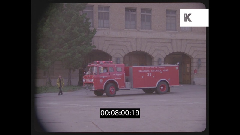 Fire Engines Pull In at Station, 1990s USA, HD