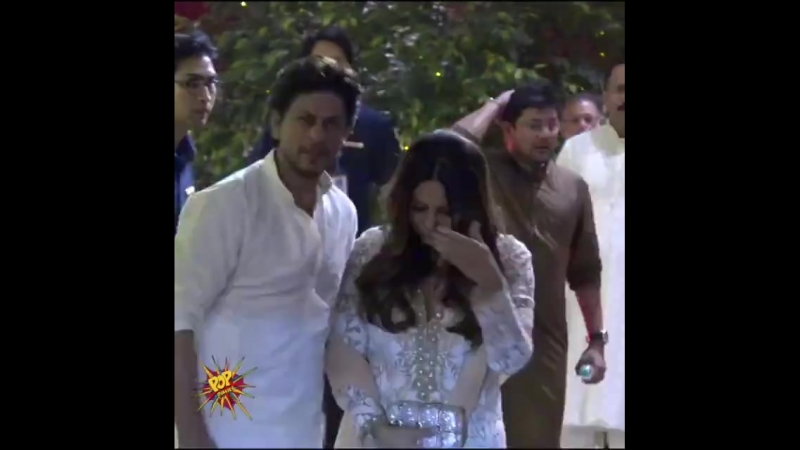 King Khan @iamsrk with @gaurikhan at Ambani's residence for Ganpati celebrations