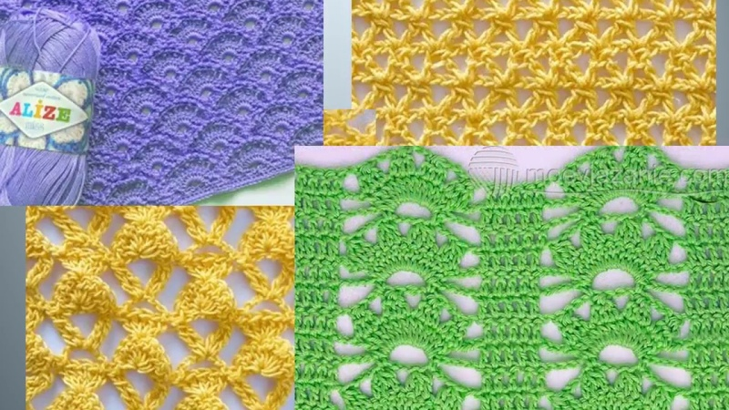 Ажурные узоры крючком со схемами. Вязание. Knitting