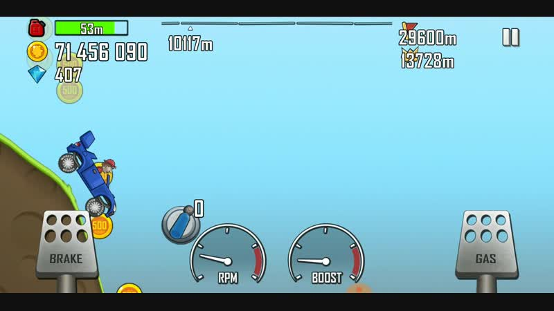 Hill Climb Racing. Rally car Countryside 16383 meters. First try......