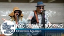 Christina Aguilera Busks in NYC Subway in Disguise
