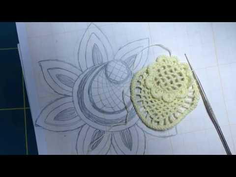 Video-tutorial Nº16/1 CROCHET IRLANDES Como tejer desde un dibujo. Flor a crochet desde el dibujo
