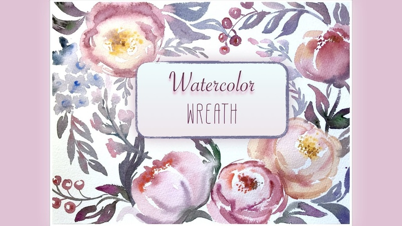 HOW TO PAINTING WREATH Watercolor flowers roses and peony Speed painting Video lesson watercolour 1