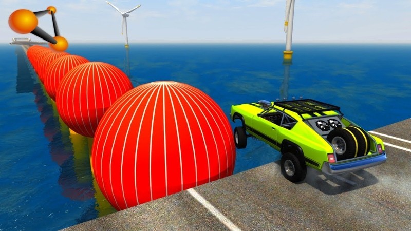BeamNG.drive - Giant Spheres Against Cars Crashes