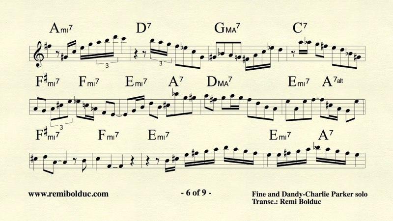 Remi Bolduc transcription of Charlie Parker on Fine and Dandy 2