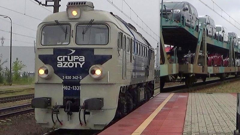 Stacja PKP Herby Stare | M62-1331 Grupy Azoty, SM42 Ciecha, skład z samochodami i inne | 17.08.2017