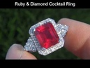 Genuine Ruby Diamond Cocktail Ring 18K Newport Beach Estate Collection