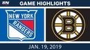 NHL Highlights Rangers vs Bruins Jan 19 2019