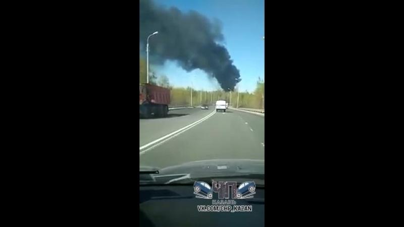Казань. пожар за Оргсинтезом. мостотряд. горит вагон