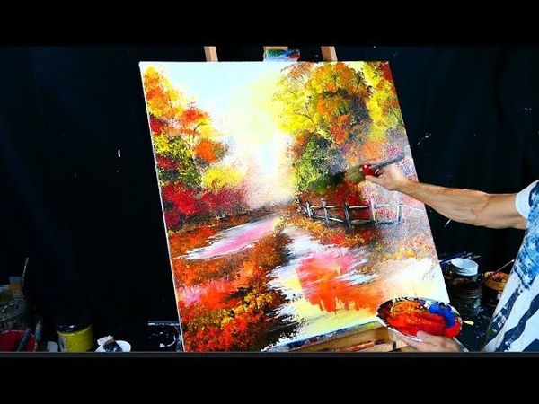 Painting magical autumn theme - a path through woods - acrylic paint, round brush