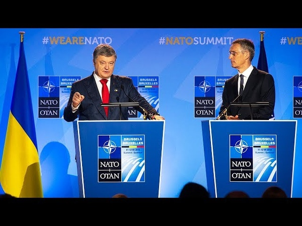 NATO Secretary General with the President of Ukraine at NATO Summit Brussels, 12 JUL 2018