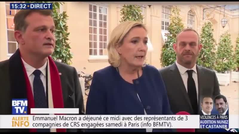 Marine Le Pen intervient devant la presse à la sortie de son entretien avec le premier ministre (Gilets Jaunes 031218)