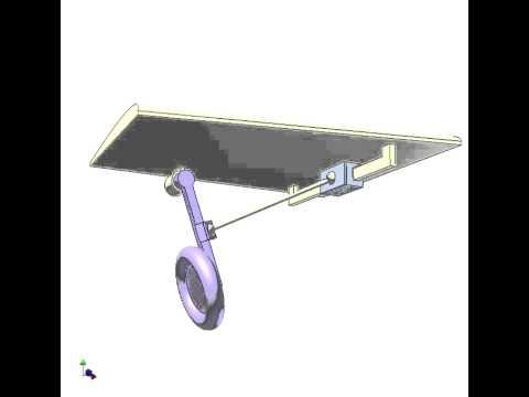 Airplane wheel retracting using spatial slider crank mechanism