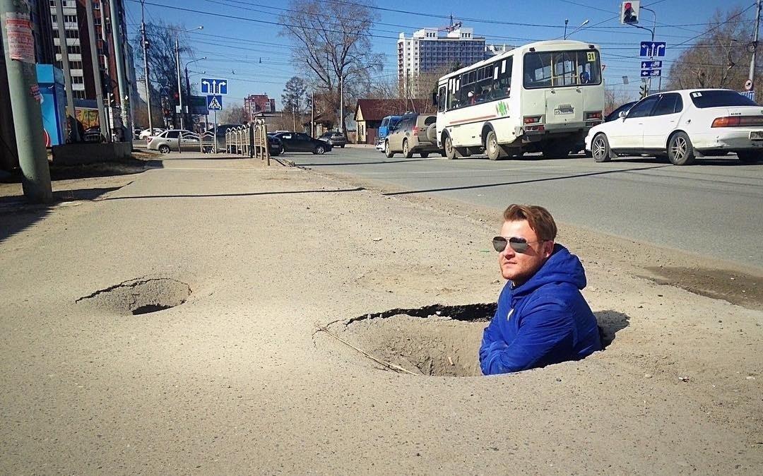 Примерно так выглядят дороги в Дзержинском после зимы)
