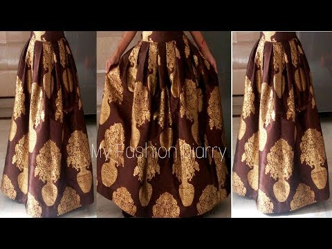 HOW TO MAKE BOX PLEATED LAHNGA / SKIRT FOR CROP TOPS || DIY||