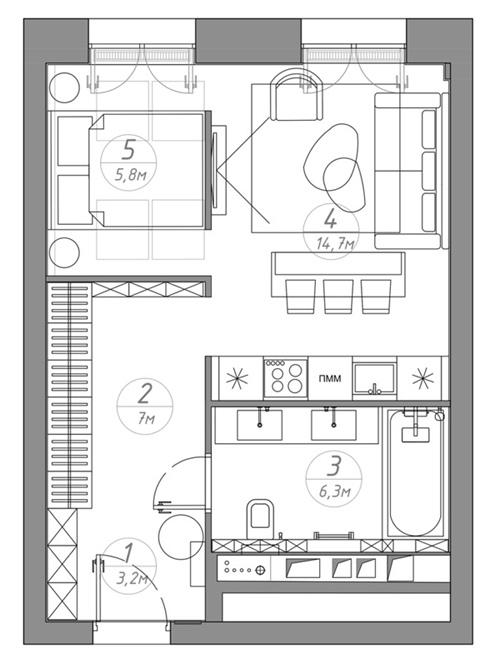 Концепт квартиры-студии 37 м.