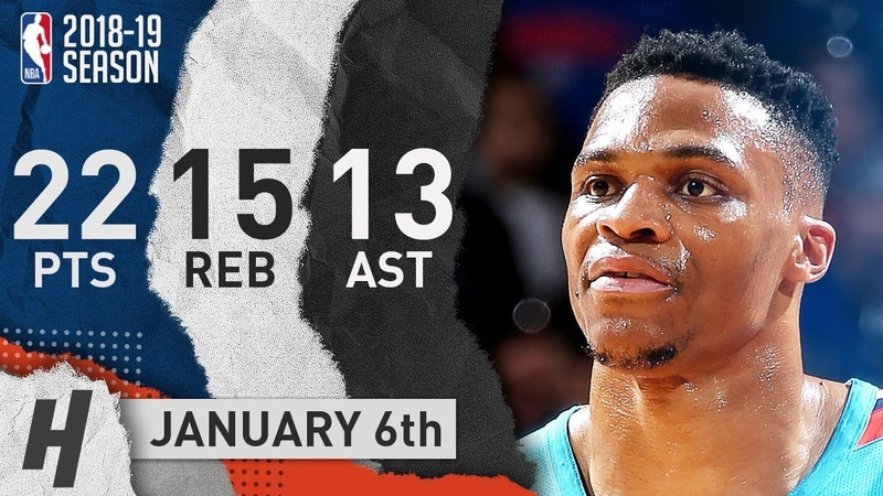 Russell Westbrook Triple Double Highlights Thunder vs Wizards 2019 01 06 22 Pts 13 Ast 15 Reb