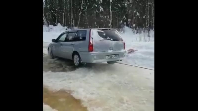 На Mitsubishi по зимнику.