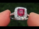 Certified Jewelry Natural Red Ruby Diamond 14k White Gold Cocktail Ring - A141689