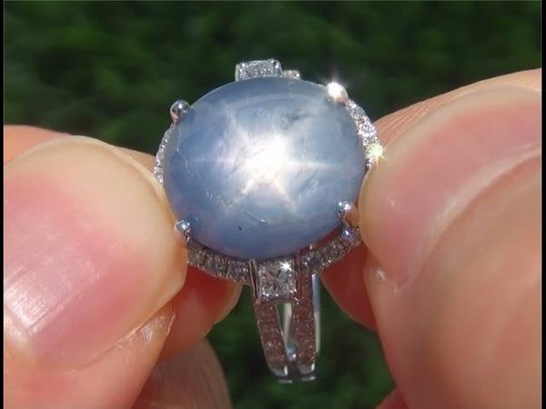 Estate Natural UNHEATED Blue Star Sapphire Diamond 14k White Gold Vintage Ring - A141695