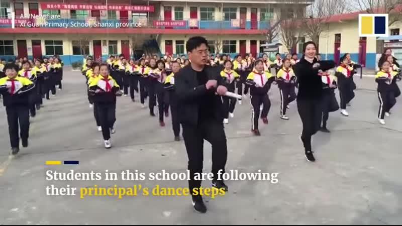 Китай. Зарядка так зарядка ֆիզիկական կրթություն եւ պար, չինական դպրոցում