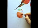 "Four little dickie birds "" With this painting I'm starting this week project painting birds in groups and flocks sitting"