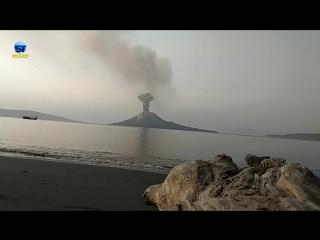Anak Krakatau eruption in Krakatoa, Indonesia 07.07.2018