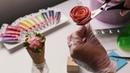 Торт украшенный рожком с цветами