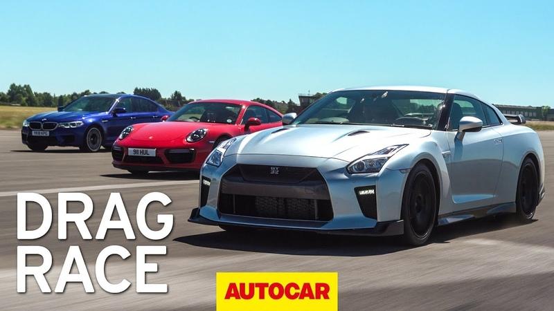 Litchfield Nissan GT R vs BMW M5 vs Porsche 911 Turbo S drag race Autocar