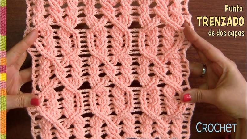 Punto trenzado en dos capas tejido a crochet paso a paso / Tejiendo Perú