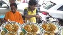 Bengali Husband Wife Selling 3 Aloo Paratha with Chana Masala Papad / Only 20 rs Per Plate