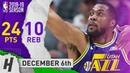 Derrick Favors Highlights Jazz vs Rockets 2018.12.06 - 24 Points, 10 Reb