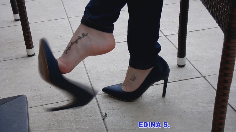 SHOEPLAY, DANGLING WITH BLUE HIGH HEELS