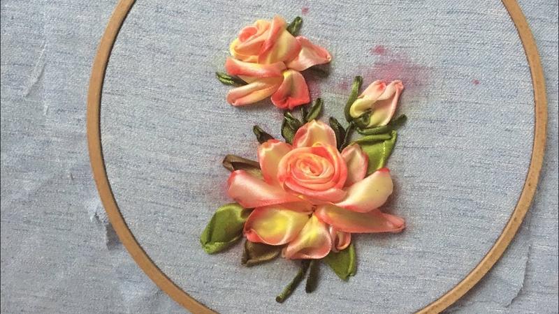D.I.Y Ribbon Embroidery Rosa with acrylic color / Hướng dãn thêu ruy băng hoa hồng tô loang màu
