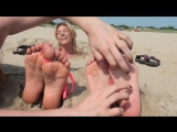 Two girls beach buried feet tickling 3 [HD]