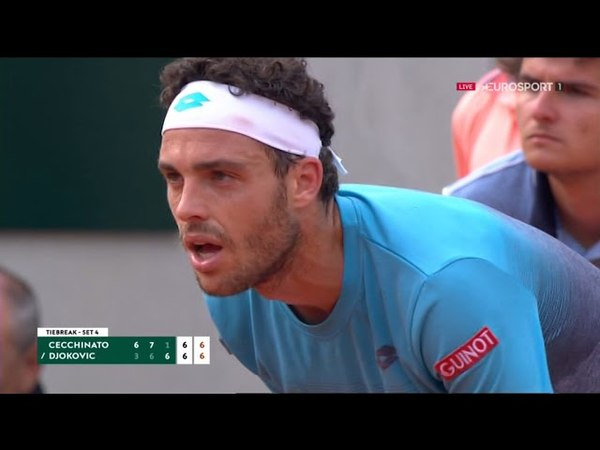 Cecchinato-Djokovic Tie break 4°set Roland Garros 2018