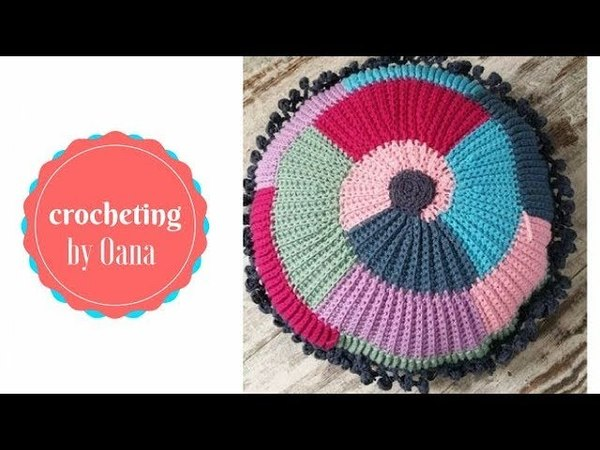 Crochet colorful joyful cushion by Oana