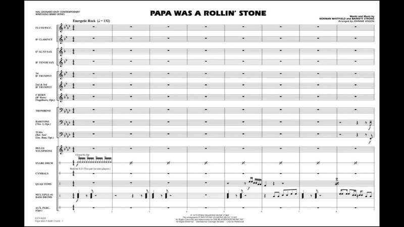 Papa Was A Rolling Stone arranged by Johnnie Vinson