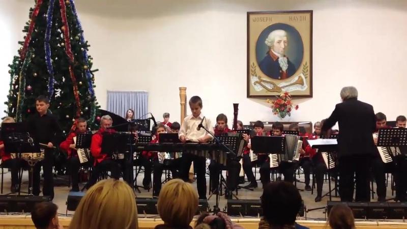 Шведов Саша солирует в оркестре баянистов аккордеонистов с произведением Fiddle Faddle