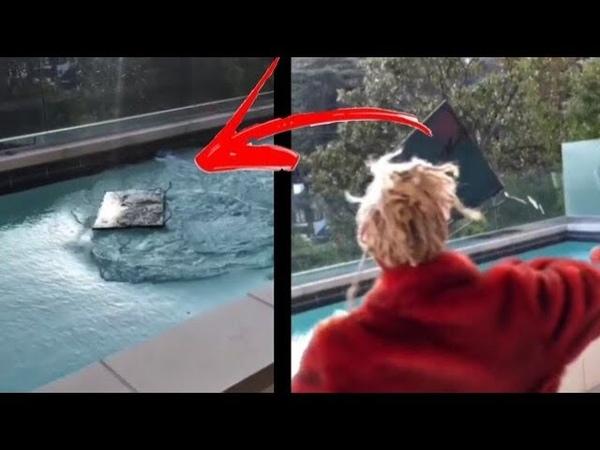 Lil pump jogou sua TV na piscina!