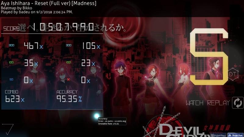 Osu! | badeu | Aya Ishihara - Reset [Madness] DT 95.35% FC 405pp 3 (HD)DT